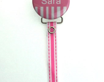 Personalized Name Adorable Pink Heart & Stripe Pacifier Clip (PER59)