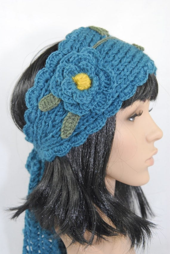 Hippie Headband Knitting Pattern : Knit And Crochet Boho Turquoise Headband-Crochet Headband-Knit