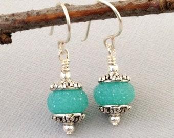Green Earrings, Silver, Acrylic, Dangle