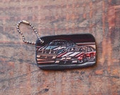 Leather Keychain Embossed Racing Cars, Upcycled