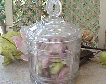 Beautiful Vintage Glass Jar-Great for Candy, Bath Salts or Whatever You Wish