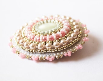 White Pink Brooch Romantic Brooch Bead embroidery Brooch Beadwork Brooch Mother of Pearl Brooch Wedding Jewelry White Pink Silver