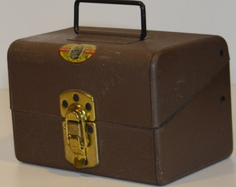 Vintage 1940s SIMONSEN Metal Products 8mm film storage box - vintage industrial, vintage storage