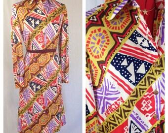 World Traveler Shirt Dress 1970s M/L