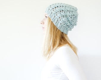 the SUMTER hat - Slouchy hat beanie crocheted - winter blue - wool