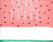Watercolour Print, Summer Fruit Art Print, Watermelon Illustration, Food Illustration, Summer Illustration, Kitchen Decor, Red Green Print