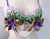 Mermaid custom bra top rave costume 34A-32B Dollz for days one of a kind