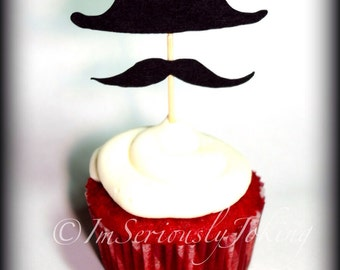 Cupcake Toppers-12 Fedora Hat and Mustache Cupcake Toppers- The Mobster- Little Man Party