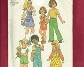 Vintage 1970's Simplicity 6781 Retro Country Girl Play Clothes Pattern Size 3