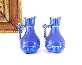 Mid Century Modern Home Decor, Blue Ceramic Flower Vases,  Made In Japan, Pottery Vase 1960s
