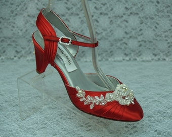 Red Wide Shoes Bridal Mid heels more colors, Rounded Closed Toe Pump, Red Satin Wedding Shoes, Romantic, 2 1/4 inch heel, Great Gatsby Style