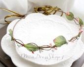SUMMER CLEARANCE SALE  - Pink White Berries Flower Crown Flower Wreath,Rustic Wedding,Olympic Leaf Crown,Hair Accessories,Bohemian