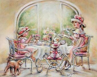 "Tea party, girls,  Canvas art prints, Teatime, Dolls, English tea, print, sisters, tea.""Teatime With Big Sister"" Laurie Shanholtzer"