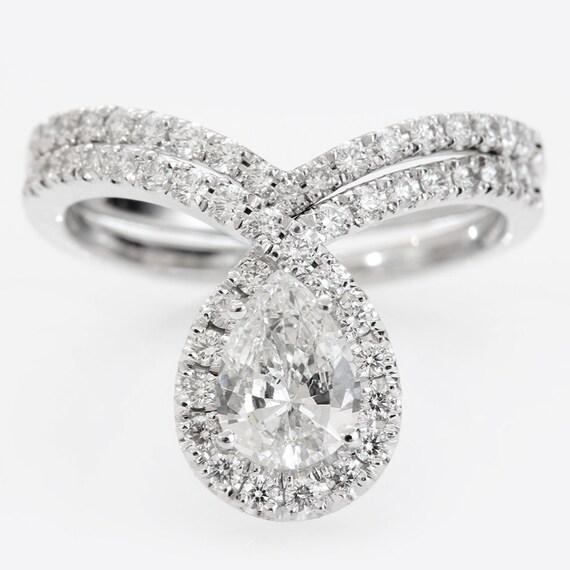 Pear shaped engagement ring set wedding ring by SillyShinyDiamonds