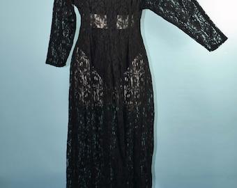 Vintage Sheer Black Lace Maxi Dress /Music Festival Concert Bohemian Hippie Babe/ Goth Grunge Hipster Black Wedding/ Sheer Lace Dress S/M
