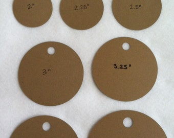 Kraft circle tag set - 25 - choose your own size - wedding tags, gift tags