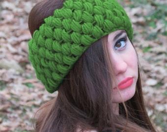Crochet Cozy Headband, light Green Ear Warmer, Chunky Slip on Headband for Women, Perfect Stocking Stuffers, Wide Knitted Headband, turban