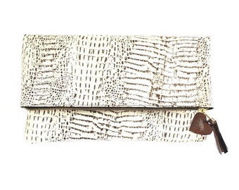 leather clutch, folded clutch, crocodile clutch, white leather clutch, brown clutch bag, everyday clutch, evening clutch, the 'Kate'