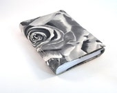 Grey gray roses journal notebook fabric