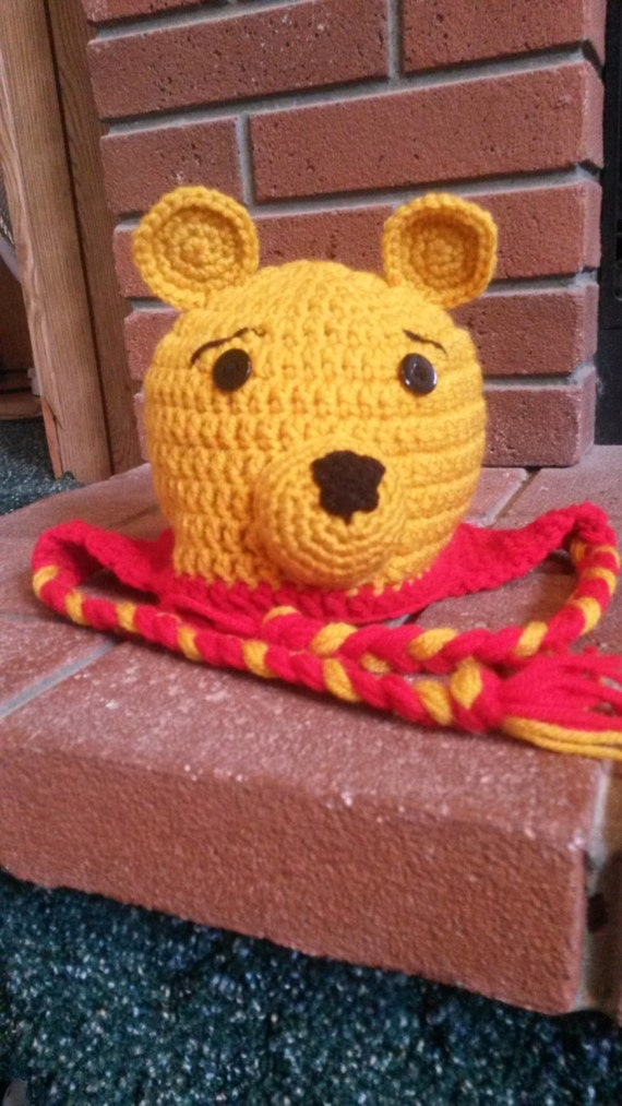 Crochet Pooh Bear Hat Pattern : Pooh Bear Inspired Crochet Hat Crochet Winter Bear Hat