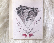 Illustrated Wolf Card- individual wolf love note card with envelope