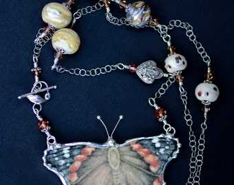 Necklace, Broken China Jewelry, Broken China Necklace, Lampwork Beads, Butterfly Gardens, Sterling Silver, Soldered Jewelry
