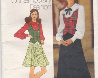 1970's Sewing Pattern - Simplicity 5297  Blouse, Skirt,  Vest  Size 12 Cut, Complete