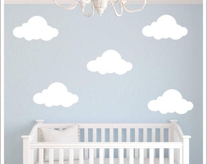 Clouds Vinyl Wall Decal Fluffy Clouds Decals Vinyl Wall Decals Clouds Nature Children Kids Nursery Decals Bedroom Decals Housewares