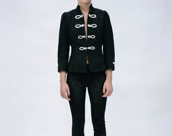 Black Military Jacket with Silver Embrodery