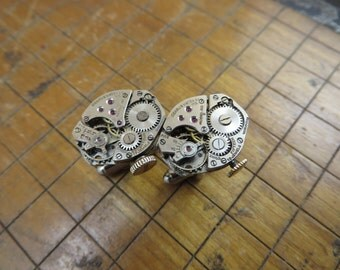 Benrus AB 5 Watch Movement Cufflinks. Great for Fathers Day, Anniversary, Groomsmen or Just Because.  #418