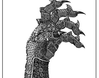 Armored Demon Warrior Hand Pen & Ink