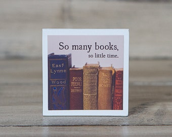 Vintage Books Magnet | So Many Books So Little Time | Inspirational Quote | Wood Square | Photography | Neodymium | Kitchen Decor