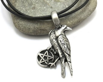 Raven Necklace, Pagan Jewelry - Pentagram Necklace, Raven Pendant with Leather Cord