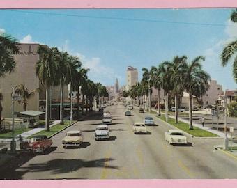 """Ca. 1960's """"Biscayne Blvd"""" Miami, FL Topographical Picture Postcard - 2158"""