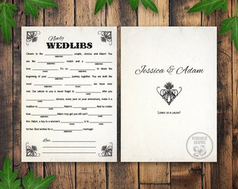 Wedding Mad Libs, Marriage Advice Mad Lib Card, Printable Mad Lib Card, Guest Book Alternative, Welcome Bag Wedding Game, Vintage Wedlibs