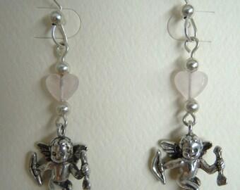 Cupid and Heart Dangle Pierced Sterling Silver Earrings