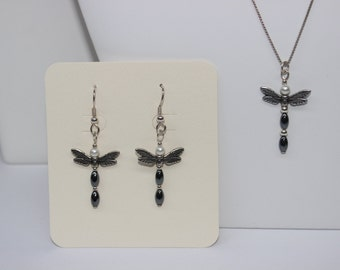 Hematite and Pearl Dragonfly Dangle Earrings and Pendant Set