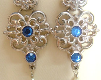 Silver Renaissance Sapphire and Pearl Filigree Earrings