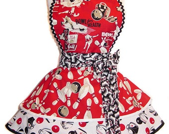 "READY TO SHIP! Exclusive ""Bowl For Health"" Pinup Apron Diner Apron-Only from Tie Me Up Aprons"