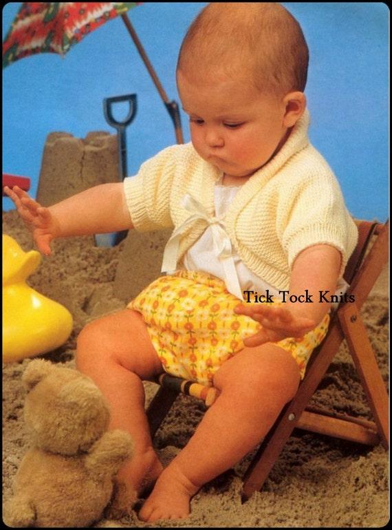 Knitting Patterns For Shrugs With Shawl Collar : No.345 Baby Shrug Knitting Pattern PDF Vintage Shawl Collar