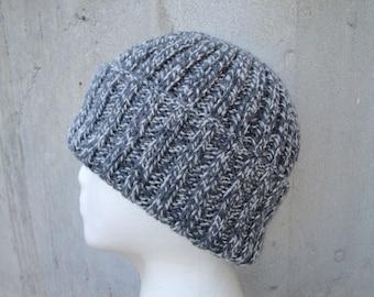 Gray Marled Hat, Watch Cap, Beanie, Toque, Hand Knit, 100% Wool, Teens Men Women