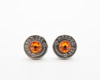 Bullet Earrings . 357 Magnum Nickel Plated Brass . Sun Orange