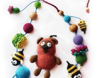Bear and bees - Nursing necklace - Teething Necklace