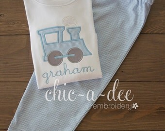 Personalized Train Shirt + Coordinating Bottoms