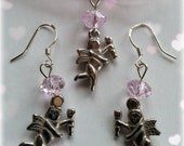 LOVE ANGELS CUPIDS earrings and pendant, jewelry set of silver sterling earwires, metal angels and pink crystals type Swarovski