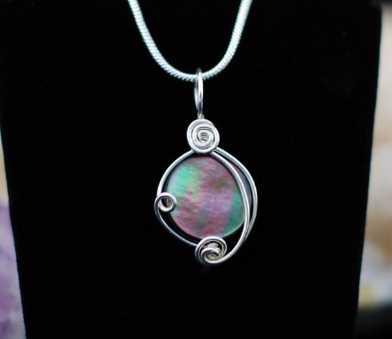 Black Mother of Pearl Pendant in Sterling Silver / Wire Wrapped Shell Necklace / Rainbow Shell Pendant