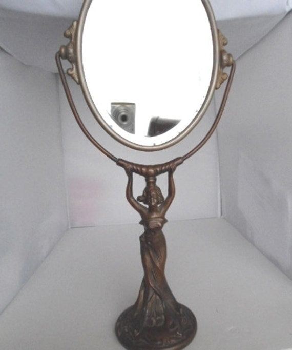 Art nouveau ladies vanity mirror in frame on stand with lady for Standing glass mirror