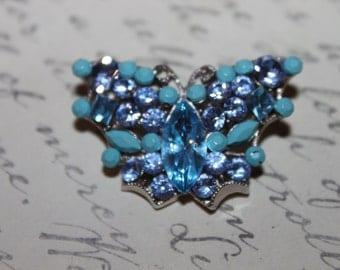1960 Multi Blue Butterfly Brooch
