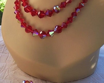 Lovely Vintage Red AB Crystal Bead 2 Strand Necklace and Matching Earrings