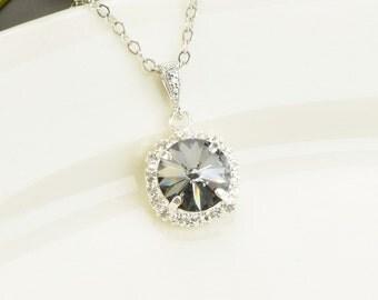 Charcoal Gray Necklace - Gray Swarovski Crystal Bridesmaid Jewelry - Grey Bridesmaid Necklace - Wedding Jewelry - Bridal Jewelry